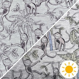 Sweatshirt fabric with minkee reverse - mottled grey Monkey jungle x 10cm