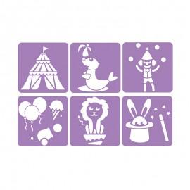 6 Stencils Pack 14 x 14 cm - Circus