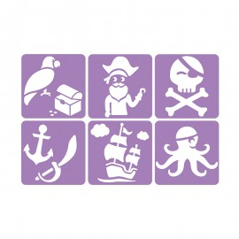 Pack de 6 Pochoirs 14 x 14 cm - Pirate
