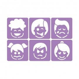 Pack de 6 Pochoirs 14 x 14 cm - Les émotions