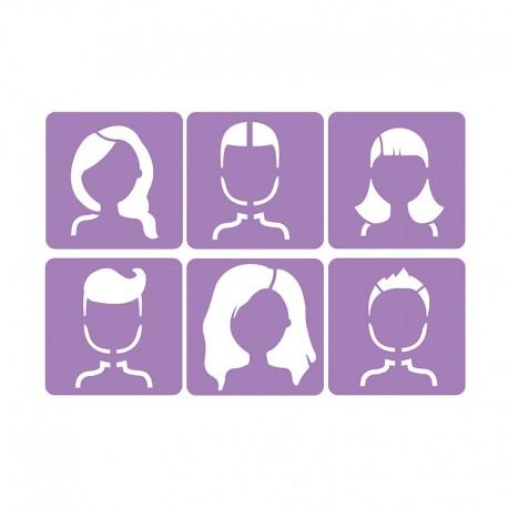 6 Stencils Pack 14 x 14 cm - Faces