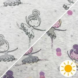 Tissu sweat minkee Photosensible Ballerina - écru/jaune x 10cm