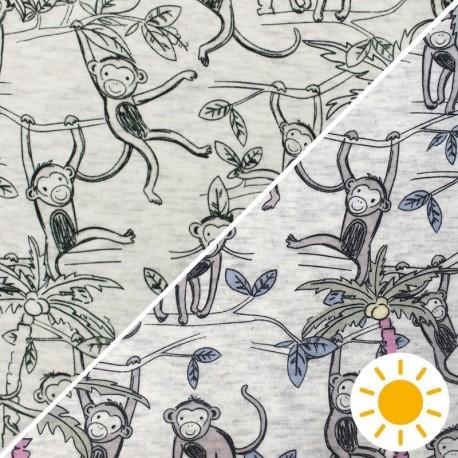 Sweatshirt fabric with minkee reverse - raw/pink Monkey jungle x 10cm