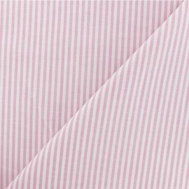 Striped cotton fabric - baby pink x 10cm