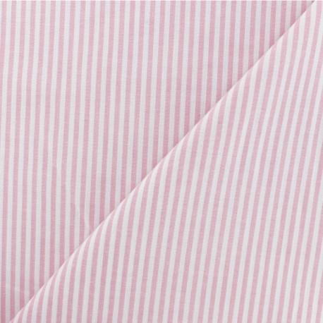 Striped cotton fabric - baby pink x 10cm