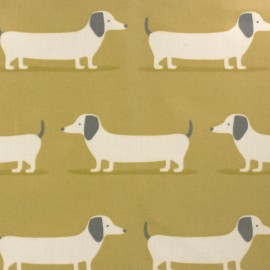 Coated cotton fabric - yellow Fryett's dog x 10cm