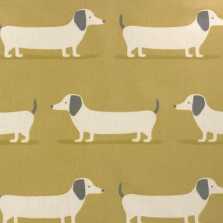 Tissu coton enduit Fryett's dog - jaune x 10cm