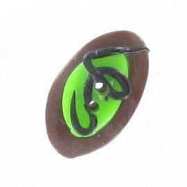 Fimo button, calisson - brown/green