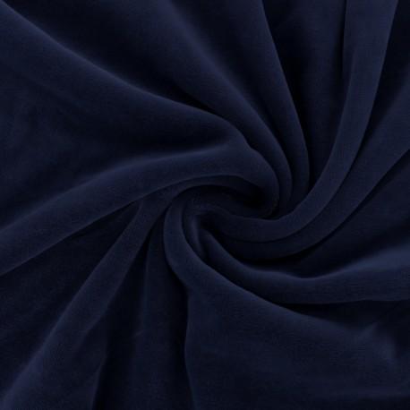 Matte jersey velvet fabric - Navy blue Bettina x10cm