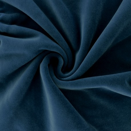 Matte jersey velvet fabric - Navy blue Bettina x10cm