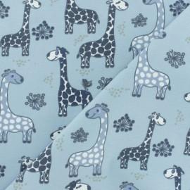 Tissu coton jersey Stenzo Girafe - bleu x 10cm