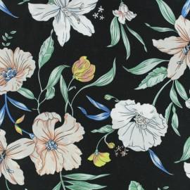Flowery Viscose fabric - Black Candice x 10cm