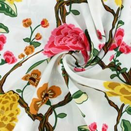 Flowery Viscose fabric - white Narayama x 20cm