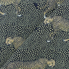 Crepe fabric - black wild Jaguar x 10cm