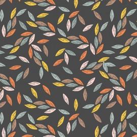 Dashwood studio Rayon fabric - dark Grey Leaves x 10cm
