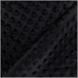 Tissu Velours minkee doux relief à pois Oeko-tex - noir intense x 10cm