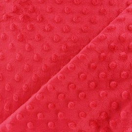 Oeko-tex minkee velvet fabric dot - strawberry x 10cm