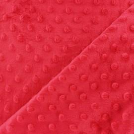 Tissu Velours minkee doux relief à pois Oeko-tex - fraise x 10cm