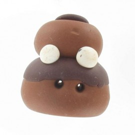 Fimo cream puff button, chocolate - light brown/brown