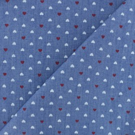 Light Chambray denim fabric - Blue Petit Coeur x 10cm