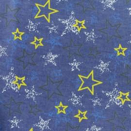 Tissu coton Chambray Petit Coeur - bleu jean x 10cm