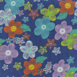 Tissu coton Chambray Pop Flower - bleu jean x 10cm
