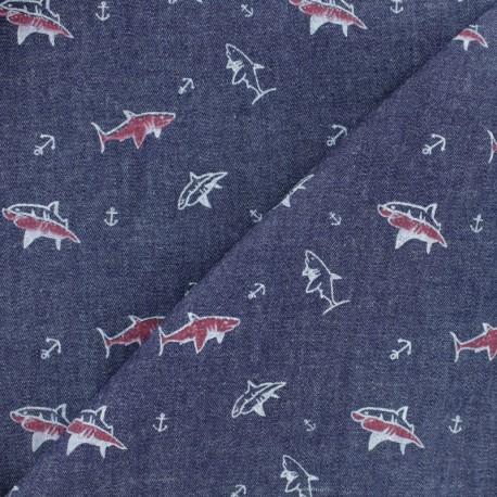 Tissu coton Chambray Requin - jean brut x 10cm