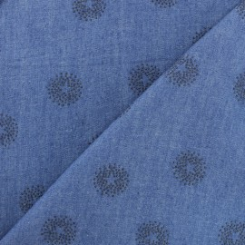 Flocked Light Chambray denim fabric - Blue Star x 10cm