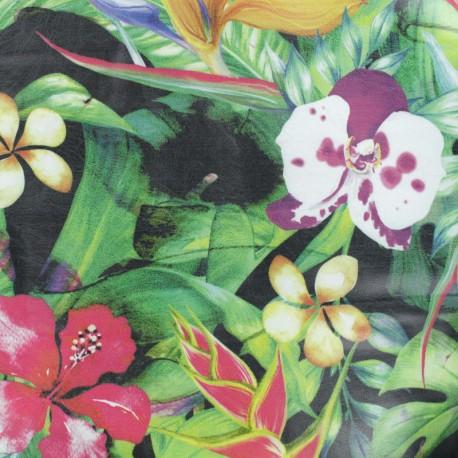 Simili cuir souple Jungle flowers - noir  x 10cm