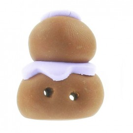 Fimo cream puff button, black-currant - light brown/purple