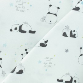 Flannel Fabric - White Petit Panda x 10cm