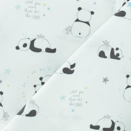 Tissu Flanelle Petit Panda - blanc x 10cm