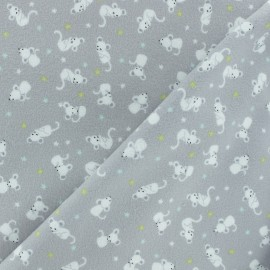 Flannel Fabric - White Mouse x 10cm