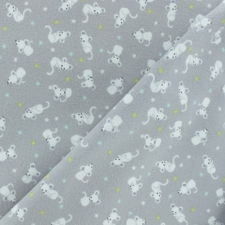 Tissu Flanelle Souris - blanc x 10cm