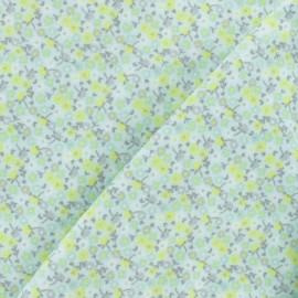 ♥ Coupon 30 cm X 110 cm ♥ Tissu Flanelle Petite fleur - vert