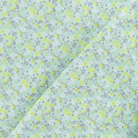 Tissu Flanelle Petite fleur - vert x 10cm