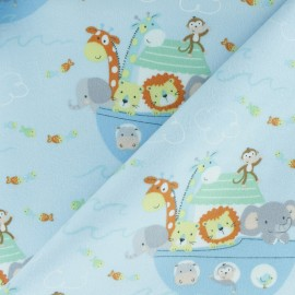 Flannel Fabric - blue Noah's Ark x 10cm