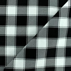 Checked Cotton fabric - Black/cream Janis x 10cm