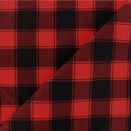 Checked Cotton fabric - Black/red Janis x 10cm