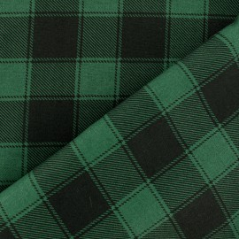 Checked Cotton fabric - Black/green Janis x 10cm