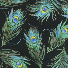 Cotton fabric - Black Peacock Feather x 10cm