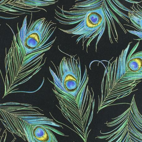 Tissu coton Plume de paon - noir x 10cm