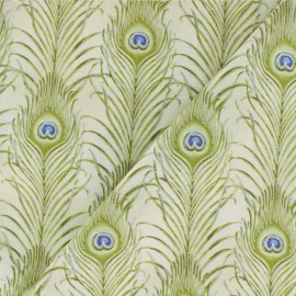 Cotton fabric - Beige Peacock Feather x 10cm