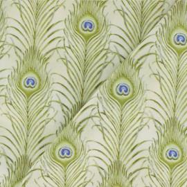 Tissu coton Plume de paon - beige x 10cm