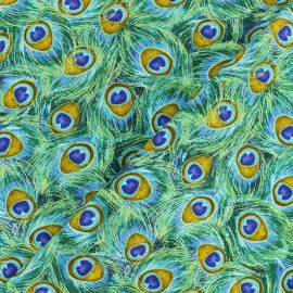 Tissu coton Plume de paon - vert x 10cm