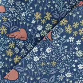 Tissu Popeline Dear Stella I Bear you - bleu nuit x 10cm