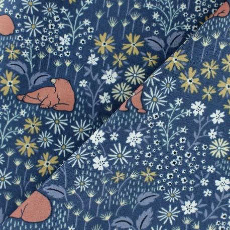 Tissu Popeline Dear Stella I deer you - bleu nuit x 10cm