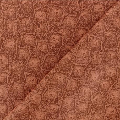 Tissu Popeline Dear Stella Roaring Bear - rouille x 10cm