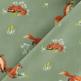 Dear Stella Poplin fabric - Khaki green Fox x 10cm