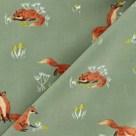 Dear Stella Poplin fabric - Khaki green Fox x 10cm